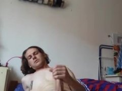 Sexy boy with big dick an nipple clips solo in bed