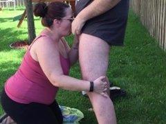 Slut Wife Sucks Cock Outside in Public Gets Huge Cumshot Facial Hardcore HD