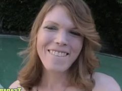 Amateur tgirl tugging her cock by the pool