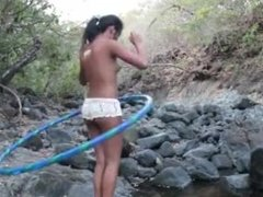 Indian hottie naked hulahoop tease and juggling tits HD
