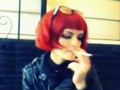 Red Head Smoking Marlboro Light in Leather Jacket