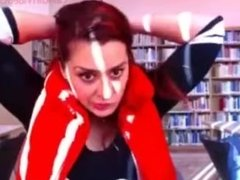 Redhead Camgirl Flashing Big Boobs and Pussy in Library