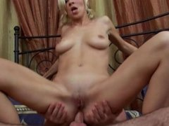 Petite Little Blonde Gets Fucked by Large Cock and Mouth Full of CUM
