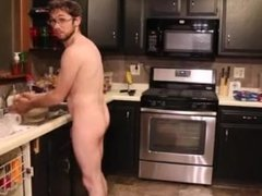 Clean house naked on cam