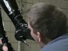 Humilating and trampling slave at old factory