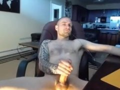 straight hunk edges huge cock and cums