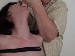 Foot Fetish Whore gets mouth fucked by a dildo