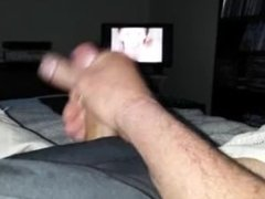 Stroking my cock and lettin one fly