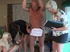 Lucky man gets a handjob from a blonde,brunette and milf