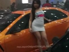 Asian race queen in tight minidress upskirt panty shots during photoshoot !
