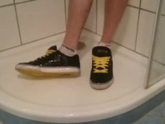 piss and wetting socks and sneaks