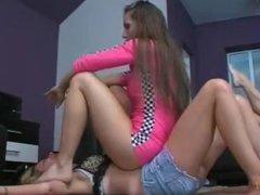 Nice Lesbian Stomach Sitting, 2 on 1