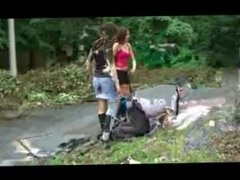 Two mistress trample slave in boots 2