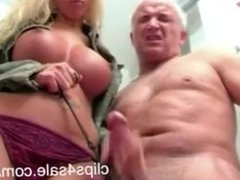 Blonde german MILF torturing old man's cock & gives painful rough handjob !