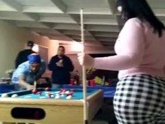 Big ass latina teen in tight pants playing pool ass exposure on hidden cam!