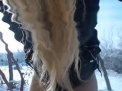 Blonde Amateur Desperate To Pee In The Snow