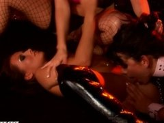 Lesbian Strippers Lick and Finger Their Pussies on Stage