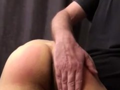 Son cums while dad spanks him