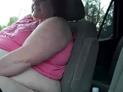 Old SSBBW Has Orgasm in Car in Parking Lot