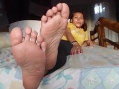 Island girl soles in bed