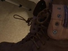 Fuck wifes combat boots while looking at her birkenstocks