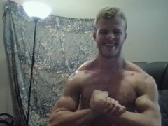 Big Muscular Sweaty Teen Blonde Bodybuilder Muscle Worship