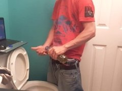 Wank with my piss in the bathroom #2