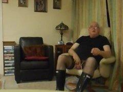 Wearing black Stockings,Panties and Wellingtons