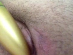 With the GF's vibrator again, after I got out of work before she got home.