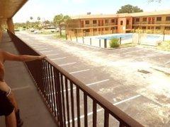 TwoLongHorns Fucking On Public Motel Balcony Risky Bareback Amateur Cowboy