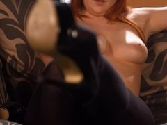 Kara Carter - Talking To You Showing Off Her Pantyhose While Smoking