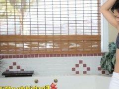 Asian Cougar Mom Supervises Daughter Handjob