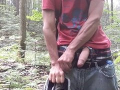 Masturbating with my piss in the forest #2
