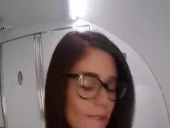 Hot girl fingers herself in bathroom on airplane
