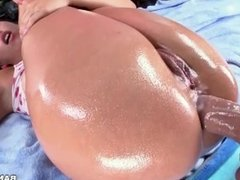 Kelsi Monroe gets her ass stretched to the max by a giant pole