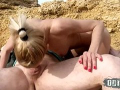 Crazy hard anal sex at the beach with skinny italian blonde milf