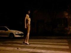 Ferlafemme public walk bikini posing 5am, 4°C