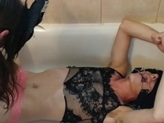 Wife Pours Cup of Her Pee on Cuffed Husband with Cumshot