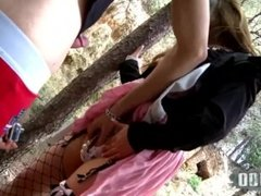Fucking a young asian pussy in the woods