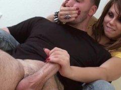 Hand over mouth reach around handjob (2)