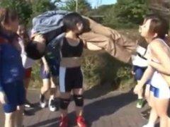 Japanese Girl Gang Bully Guy In Park