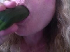 Hungry girl gets mouth fucked by zucchini, wishes it was a real hard cock