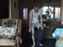 LanaTuls - Ass belt spanking and First trying DOUBLE ANAL Dildo Russian Gay