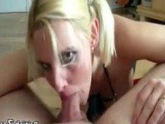Blonde milf gives sloppy pov blowjob and deepthroat