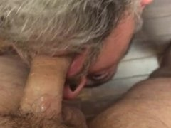 Throat fucked by my hot straight buddy over the edge of the bed
