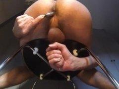 Milking my prostate with a big metal dildo (Njoy purewand)