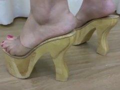 Wood Platform High Heels
