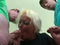 Granny threesome sex in the classroom