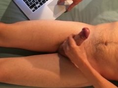 jerking off and edging on webcam
