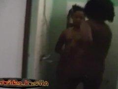 Amateur African lesbos taking hot shower together